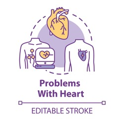 Problems with heart concept icon. Heart attack. Emergency medical treatment. Hospital diagnosis. Heartburn idea thin line illustration. Vector isolated outline RGB color drawing. Editable stroke