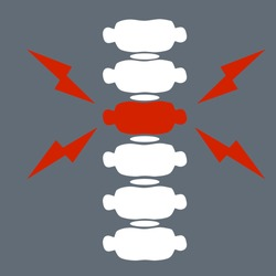 Problems with spine. Posture issues. vertebral column. X-ray of internal organs. Medical care. Fracture of intervertebral discs. Cartoon flat illustration. Sick red place. Crack in White bone