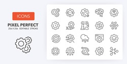 Process automation conceps. Thin line icon set. Outline symbol collection. Editable vector stroke. 256x256 Pixel Perfect scalable to 128px, 64px...