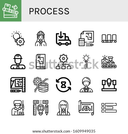 process icon set. Collection of Conveyor, Development, Engineer, Loading, Blueprint, Sketchbook, Process, Creativity, Worker, Data processing, Processing time, Entrepeneur icons