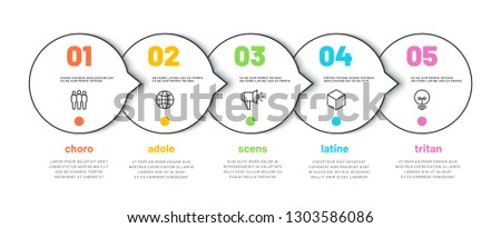 PROCESS LINE INFOGRAPHIC. 5 options timeline calendar, organization workflow diagram, number infochart. Vector infographics template