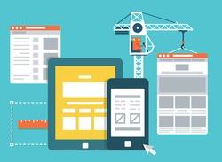 Process of creating site. Development skeleton framework of a website - vector illustration