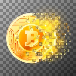 Process of creation of bright golden coin with microchip pattern and Bitcoin sign on transparent background. Cryptocurrency mining concept illustration