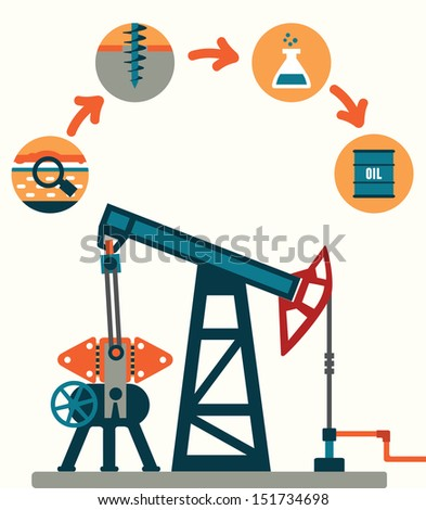 Process of oil production - vector illustration