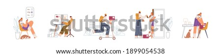 Process of online order and delivery by steps. People choosing, confirming, delivering, getting and unpacking purchase. Stages of e-commerce service. Flat vector illustration isolated on white