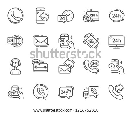 Processing line icons. Set of Callback or feedback, Support and Chat message linear icons. 24 hour service, Call centre and 24/7 symbols. Telephone, Chat bubble message. Call support vector