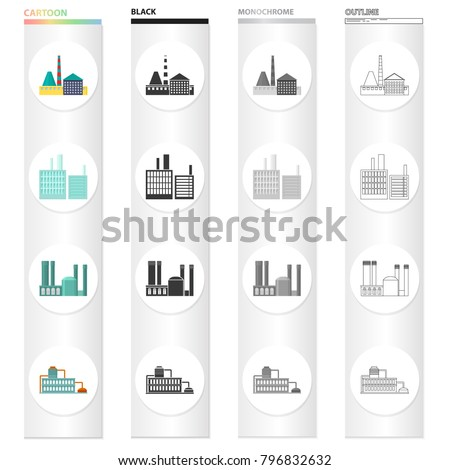 Processing plant, industrial production facilities. Plant and factory set collection icons in cartoon black monochrome outline style vector symbol stock illustration web.