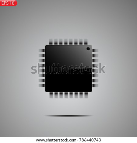 Processor, brain, thinking chip, core, At mega, Arduino, microchip, background EPS 10 vector stock illustration