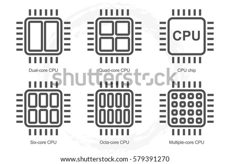 processor icon set. dual quad...