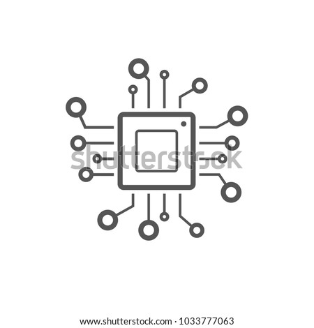 Processor line vector icon for websites and mobile minimalistic flat design.  Mini CPU Icon Flat Style. Mobile CPU Vector. Phone CPU Illustration. Basic CPU Icon. Editable Stoke. EPS 10