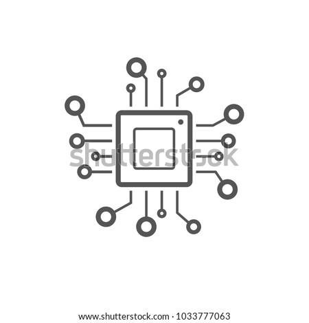 processor line vector icon for...