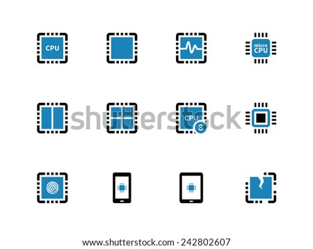 processor unit duotone icons on