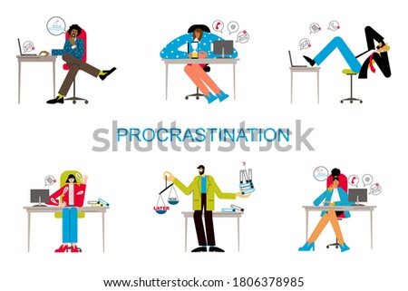 Procrastination and delaying working tasks concept. Irresponsible office employes procrastinating. Lazy people in office. Office people worker character at workplace set. Сток-фото ©