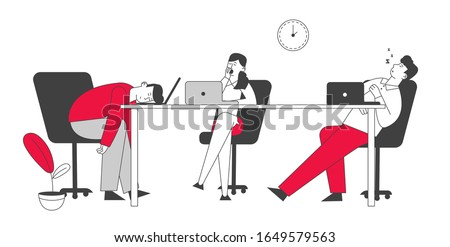 Procrastination Concept. Boring, Procrastinating and Lazy Businesspeople Employees Sleeping and Yawning at Workplace Office Desk Postponing Work, Unprofitable Time. Cartoon Flat Vector Illustration