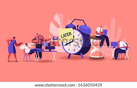 Procrastination Concept. Procrastinating Lazy Businesspeople Employees Sleeping and Sitting at Workplace with Legs on Office Desk Postponing Work Unprofitable Time. Cartoon Flat Vector Illustration Stockfoto ©