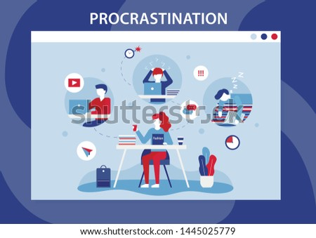 Procrastination Human Weakness Cartoon Flat Banner. Lazy, Bored, Professional Burnout Men and Women Characters Doing Distracting Things, Sleeping, Waist Time Instead Working. Vector Illustration