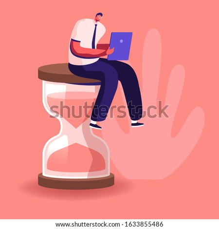 Procrastination in Business Process Concept. Businessman Sitting on Hourglass with Laptop in Hands. Time Management, Multitasking, Working Productivity Infographics. Cartoon Flat Vector Illustration