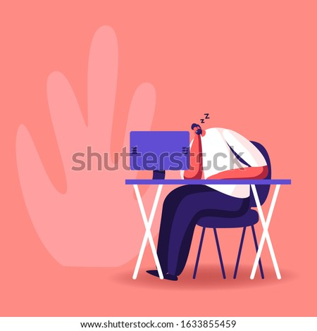 Procrastination, Overwork Burnout Symptom Concept. Lazy or Tired Overload Businessman with Low Life Energy Power Sleeping at Working Place Lying on Desk with Computer. Cartoon Flat Vector Illustration
