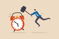 Procrastination postpone to get thing done later, too tight business deadline or cannot finish work in time concept, young man holding big hammer smashing on loud reminding alert alarm clock.