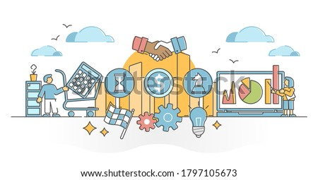 Procurement management occupation symbolic routine scene outline concept. Inventory storage planning and product cost price control from suppliers vector illustration. Purchase process monitoring. Stockfoto ©
