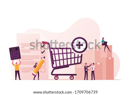 Procurement Process of Purchasing Goods or Services with Tiny Male and Female Business Characters with Huge Shopping Trolley, Calculator and Pean Making Deal. Cartoon People Vector Illustration Stockfoto ©