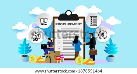 Procurement Process of Purchasing Goods, Procurement Management Industry concept  With icons. Cartoon Vector People Illustration Stockfoto ©
