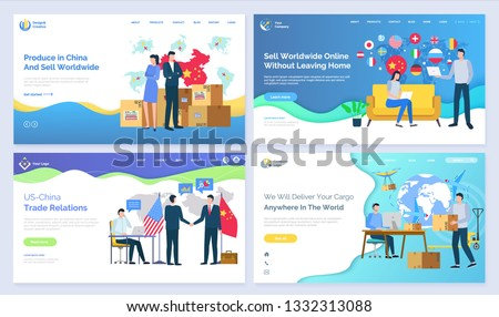 Produce in China and sell worldwide US vector. Trade relations, online without leaving home, deliver cargo anywhere in world, set of pages. Website or webpage template, landing page flat style
