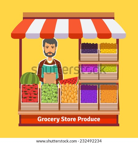 produce shop keeper fruit and