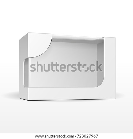 Product Cardboard Plastic Package Box With Window. Illustration Isolated On White Background. Mock Up Template Ready For Your Design. Vector EPS10