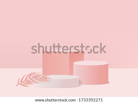 product dais podium and scene with 3d render vector in abstract pink background composition, 3d illustration mock up scene geometry shape platform forms for product display. stage for product on dais