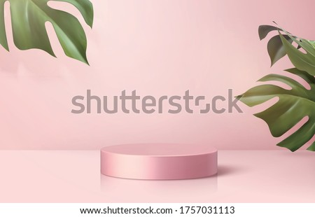 Product display podium decorated with monstera leaves on cherry blossom pink background, 3d illustration