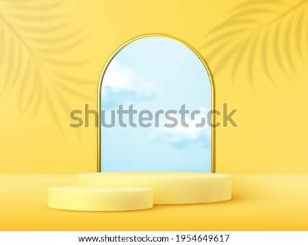 Product display podium decorated with realistic cloud and gold frame on yellow background