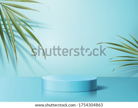 Product display podium decorated with tropical palm leaves on aqua blue background, 3d illustration