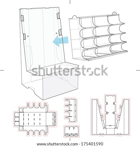 Product Display Stand with Shelf Compartments and Blueprint Layout