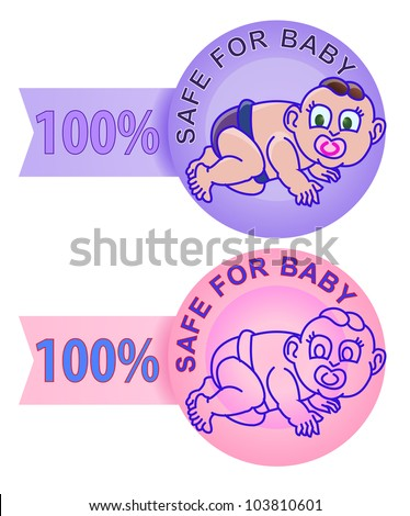 product label safe for baby isolated in white