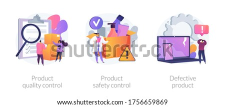 Product manufacturing abstract concept vector illustration set. Product quality and safety control, defective product testing, customer feedback, inspection, warranty certificate abstract metaphor. Stockfoto ©