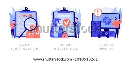 Product manufacturing abstract concept vector illustration set. Product quality and safety control, defective product testing, customer feedback, inspection, warranty certificate abstract metaphor.