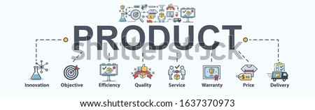 Product marketing banner web icon,  innovation, objective, quality, price, service, delivery and warranty. How to make a new product concept.