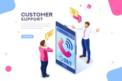 Product of e-shop. Shop available assistance, accessible always. Clock illustration for site or center. Isometric images of transaction customer support concept with characters. Vector illustration.