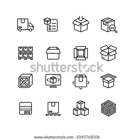 Product packing line icons. Box warehousing outline vector symbols. Delivery service packaging, thin line linear and outline box and container illustration