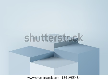 Product pedestals display minimal scene with geometric platform. pedestals background vector 3d rendering with podium. Product display show cosmetic products. Stage showcase on pedestal 3d studio blue