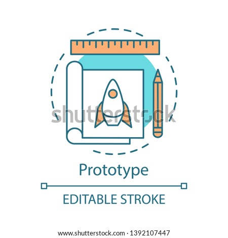 Product prototype concept icon. Startup planning. Prototyping and model making. First version of device idea thin line illustration. Vector isolated outline drawing. Editable stroke