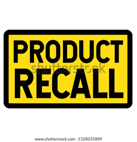 product recall sign on white