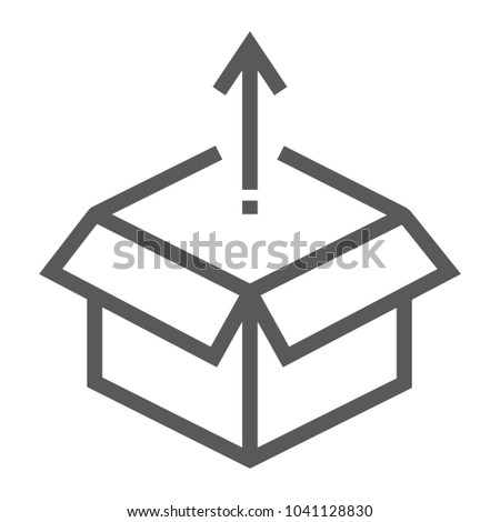 Product release line icon, development and business, open box sign vector graphics, a linear pattern on a white background, eps 10.