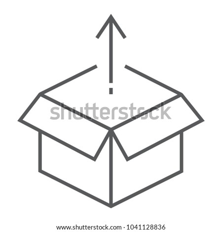 Product release thin line icon, development and business, open box sign vector graphics, a linear pattern on a white background, eps 10.