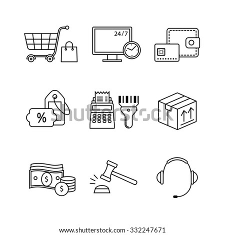 Product retail business, internet commerce and shopping thin line art icons set. Modern black symbols isolated on white for infographics or web use.