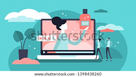 Product review vector illustration. Flat tiny feedback rate persons concept. Quality analysis process for customer choice satisfaction. Online promotion presentation results with sale experience stars