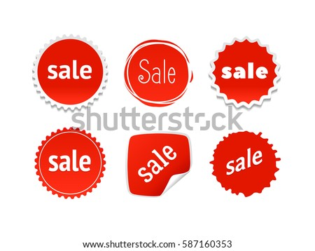 Product stickers set with sale offer color splash label tag badge icon