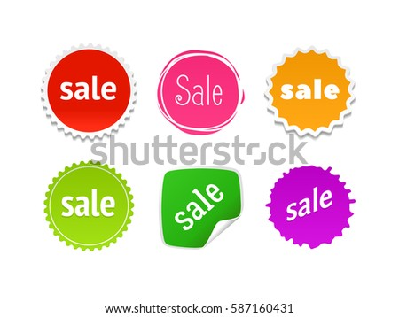 Product stickers set with sale offer. Color splash label, tag, badge, icon & text. The best prise vector banner for web store. Promotional corner located element. Accent promotion flyer, frame design #587160431