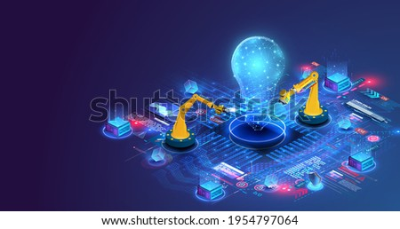 Production automation technology. Industrial mechanical robot hand machine projects a light bulb as a symbol of a new idea. Vector illustration